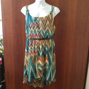 NWT Bisou Bisou belted high low dress size 16